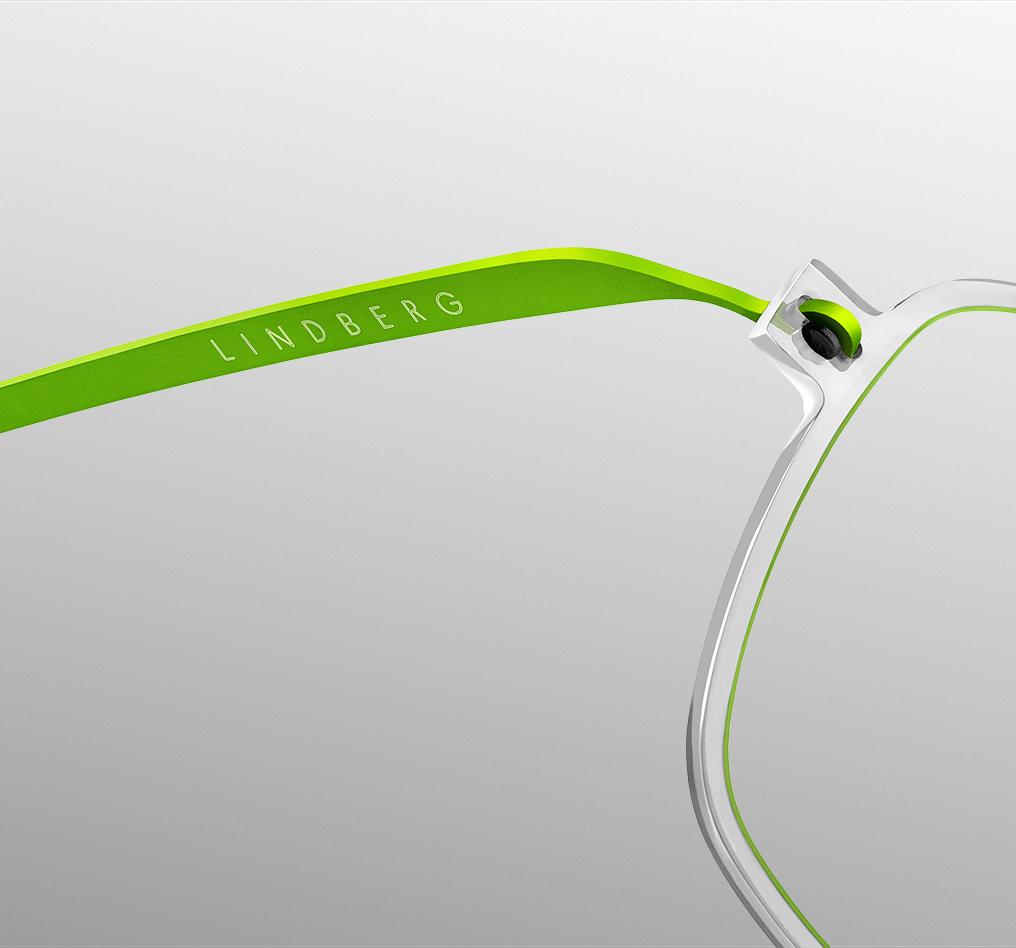 Détail de la branche des lunettes LINDBERG NOW titanium